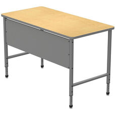 Apex Series Height Adjustable Stand Up Desk with PVC Edge - Fusion Maple Top with Gray Edge and Legs - 60