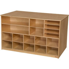 Wooden Versatile Storage Unit with 10 Orange Plastic Trays - 48
