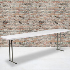 8-Foot Granite White Plastic Folding Training Table