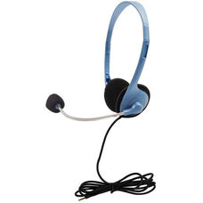 Blue On-Ear Personal Gooseneck Mic Headset with Clear Sound and TRRS Plug