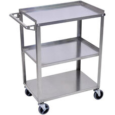 Stainless Steel 3 Shelf Mobile Cart with Push Handle - 28.25