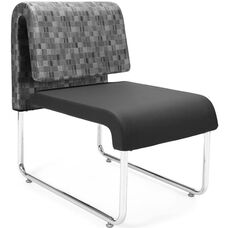 UNO Lounge Chair - Nickel Back with PU Black Seat