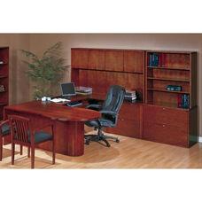 OSP Furniture Kenwood Hardwood Veneer Executive U Suite with P-Top Deks with Curved Metal Drawer Pulls