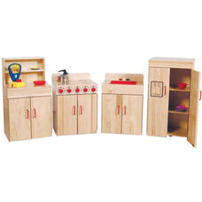 Pretend Play Solid Maple Kids Appliances - Assembled - Set of 4