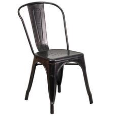 Commercial Grade Black-Antique Gold Metal Indoor-Outdoor Stackable Chair