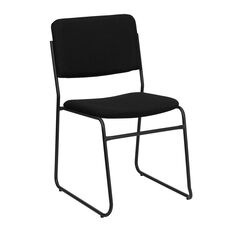 HERCULES Series 1000 lb. Capacity High Density Black Fabric Stacking Chair with Sled Base