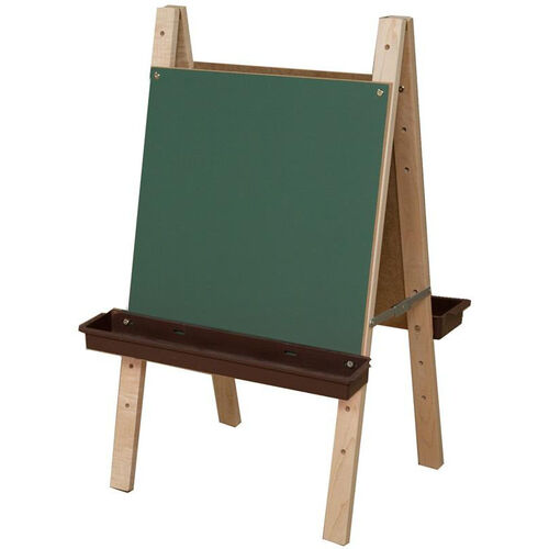 Our Tot Size Double Sided Chalkboard Easel with Brown Trays and 8 Paint Cups - 24