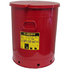 21 Gallon Steel Hand-Operated Oily Waste Can - Red