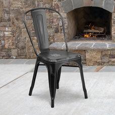 Commercial Grade Distressed Black Metal Indoor-Outdoor Stackable Chair