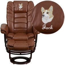 Embroidered Contemporary Brown Vintage Leather Recliner and Ottoman with Swiveling Mahogany Wood Base