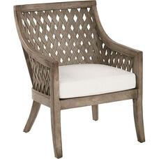 OSP Designs Plantation Lounge Chair with Cushion - Grey Wash
