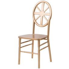Veronique Series Stackable Wagon Wood Dining Chair - Set of 2 - Gold