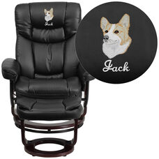 Embroidered Contemporary Multi-Position Recliner and Curved Ottoman with Swivel Mahogany Wood Base in Black LeatherSoft