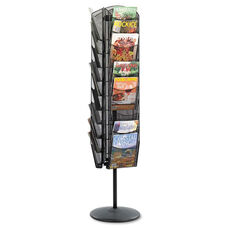 Safco® Onyx Mesh Rotating Magazine Display - 30 Compartments - 16-1/2w x 66h - Black