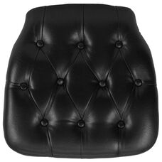Hard Black Tufted Vinyl Chiavari Chair Cushion