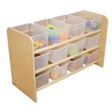 See-All Healthy Kids Plywood Storage Unit with Twelve Clear Trays - Assembled - 33