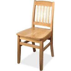 4400 Series Wood Frame Armless Cafe Chair with Slatted Back and Wood Seat