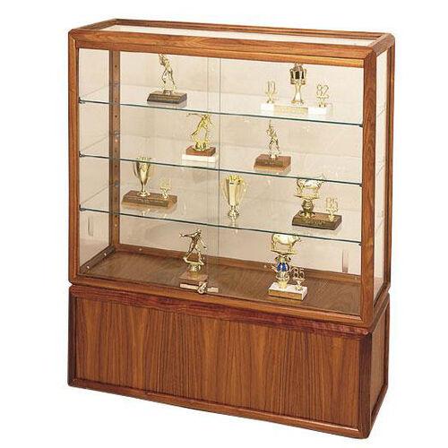 742 Series Freestanding Hardwood Frame Display Case with Tempered Glass Sliding Doors - 36