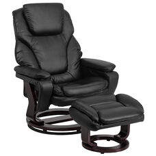 Contemporary Multi-Position Recliner and Ottoman with Swivel Mahogany Wood Base in Black LeatherSoft