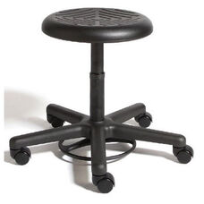 Rhino Foot Activated Desk Height Cleanroom Stool with Urethane Seat - Black