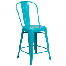 "Commercial Grade 24"" High Crystal Teal-Blue Metal Indoor-Outdoor Counter Height Stool with Back"