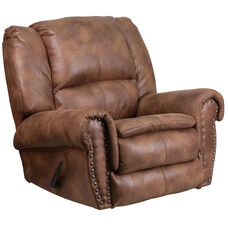 Contemporary Breathable Comfort Padre Almond Fabric Rocker Recliner with Brass Accent Nails