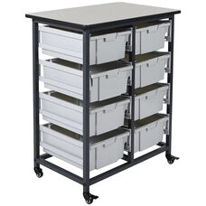 Mobile Double Row Storage Unit with 8 Large Gray Bins - Black - 30.5