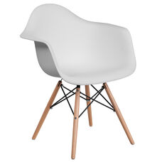 Alonza Series White Plastic Chair with Wood Base
