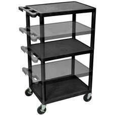 3 Shelf Height Adjustable Mobile A/V Utility Cart - Black - 24