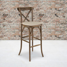 HERCULES Series Dark Antique Wood Cross Back Barstool with Cushion