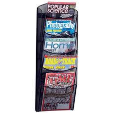 Onyx™ Five Pocket Mesh Wall Mount Magazine Rack - Black