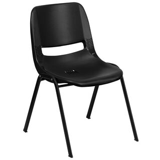 "HERCULES Series 440 lb. Capacity Kid's Black Ergonomic Shell Stack Chair with Black Frame and 12"" Seat Height"