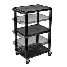 Black Adjustable Height Utility Cart