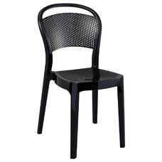 Bee Polycarbonate Stackable Dining Chair - Glossy Black