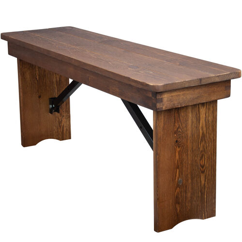 Advantage Barn Wood Brown Farmhouse Table Bench - 12 in. x 40 in.