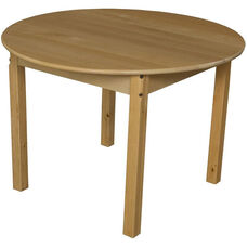 Solid Hardwood Round Table with Rounded Child Safe Corners and Non-Toxic Natural Finish - 36