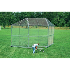 Portable Twelve Gauge Galvanized Steel Backstop Transporter with Built In Handle and Four Heavy Duty Wheels