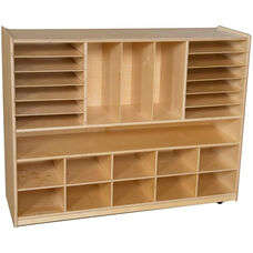 Wooden Mobile Multi-Storage Unit with Cubby Storage Compartments - 48