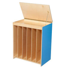 Blueberry Big Book Display and Storage with Locking Piano Hinged Top with Flannel on Front - Assembled - 24