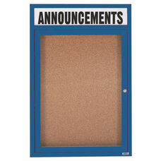 1 Door Indoor Illuminated Enclosed Bulletin Board with Header and Blue Powder Coated Aluminum Frame - 48