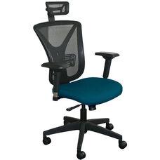 Fermata Executive Mesh Chair with Black Base and Headrest - Iris Fabric