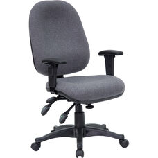 Mid-Back Gray Fabric Multifunction Executive Swivel Ergonomic Office Chair with Adjustable Arms