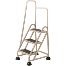 Stop Step 3 Step Ladder with Left Handrail - Beige
