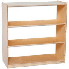 Wooden 3 Fixed Shelf Bookcase with Acrylic Back - 36