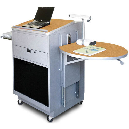 Our Vizion Sit Stand Mobile Teaching Center with Acrylic Doors and Lectern - Silver Powdercoat Paint and Oak Laminatee is on sale now.