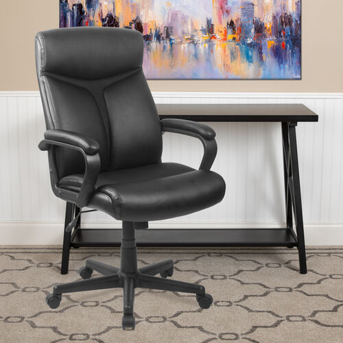 Our High Back Black LeatherSoft Executive Swivel Office Chair with Slight Mesh Accent and Arms is on sale now.