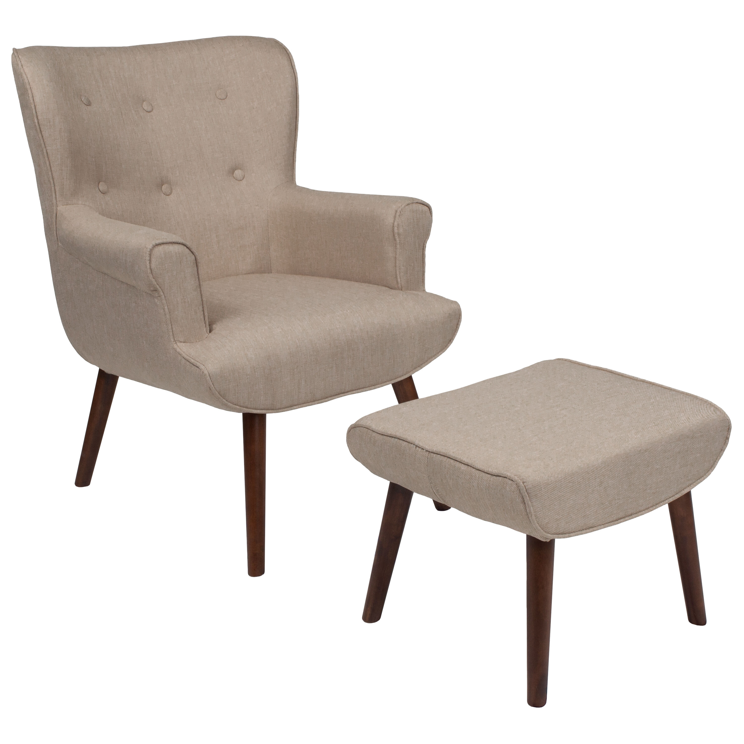 ... Our Bayton Upholstered Wingback Chair With Ottoman In Beige Fabric Is  On Sale Now.