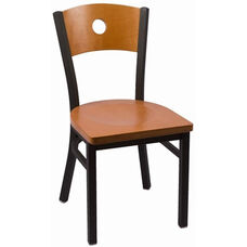 Circle Series Wood Back Armless Chair with Steel Frame and Wood Seat - Cherry