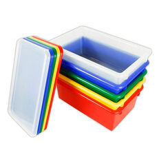 12 Pack Heavy Duty Stack and Store Tubs with Lids - Assorted Colors - 15.56