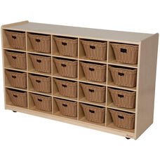 Wooden Mobile Storage Unit with 20 Plastic Wicker Baskets - 48